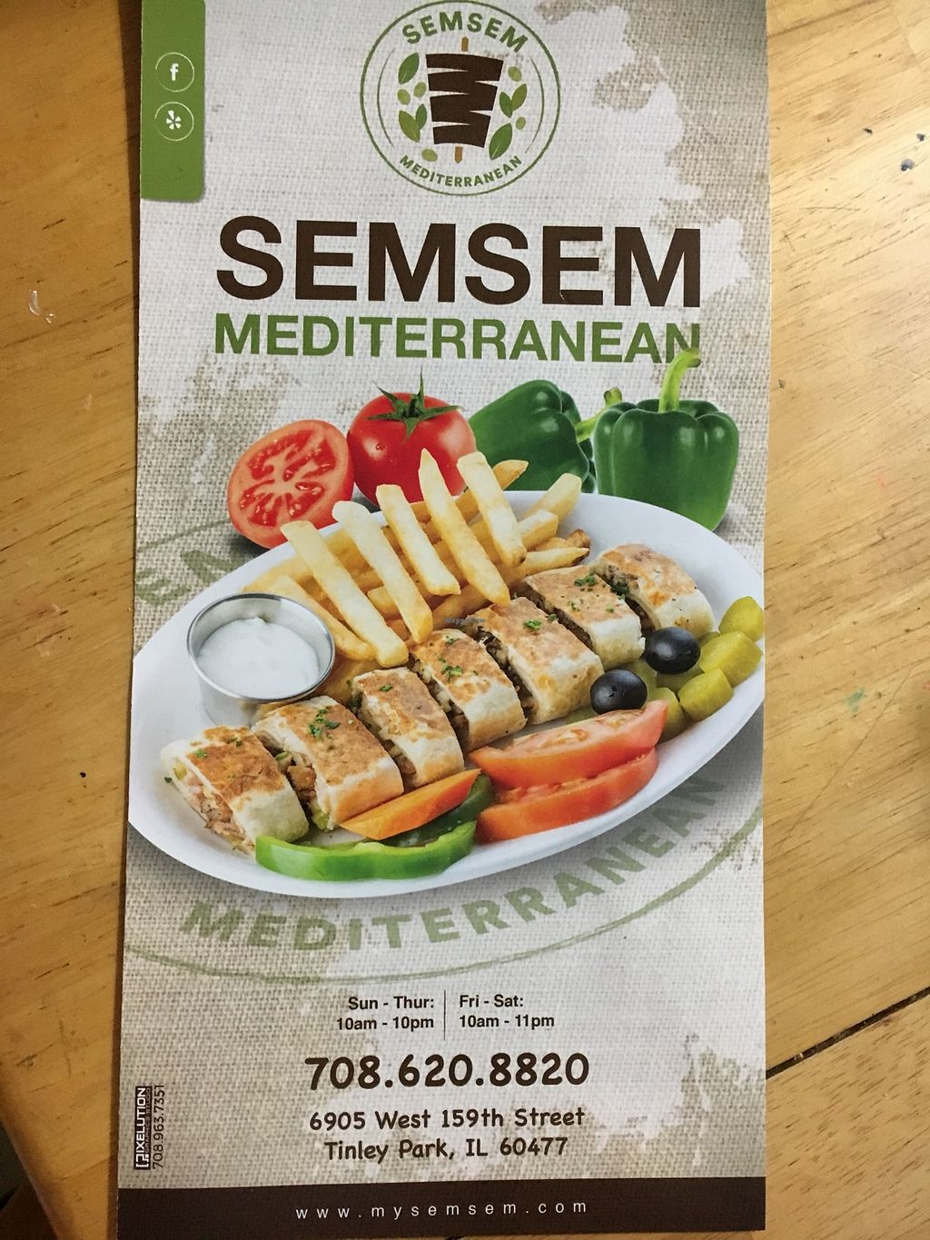 Menu At Semsem Mediterranean In Tinley Park