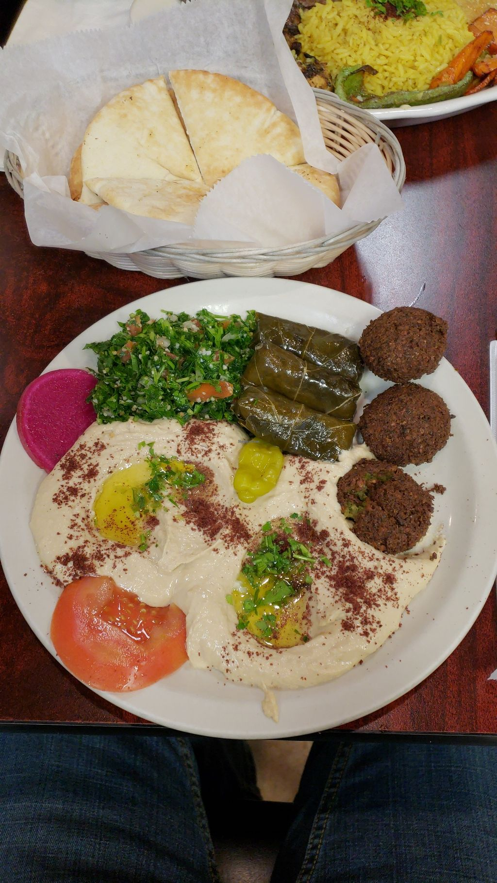 Vegetarian Platter With Hummus Subsute At King O Falafel In Kissimmee