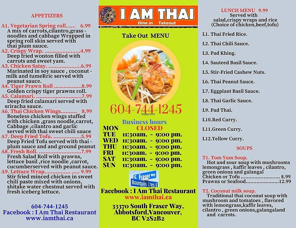 I Am Thai - Abbotsford British Columbia Restaurant - HappyCow