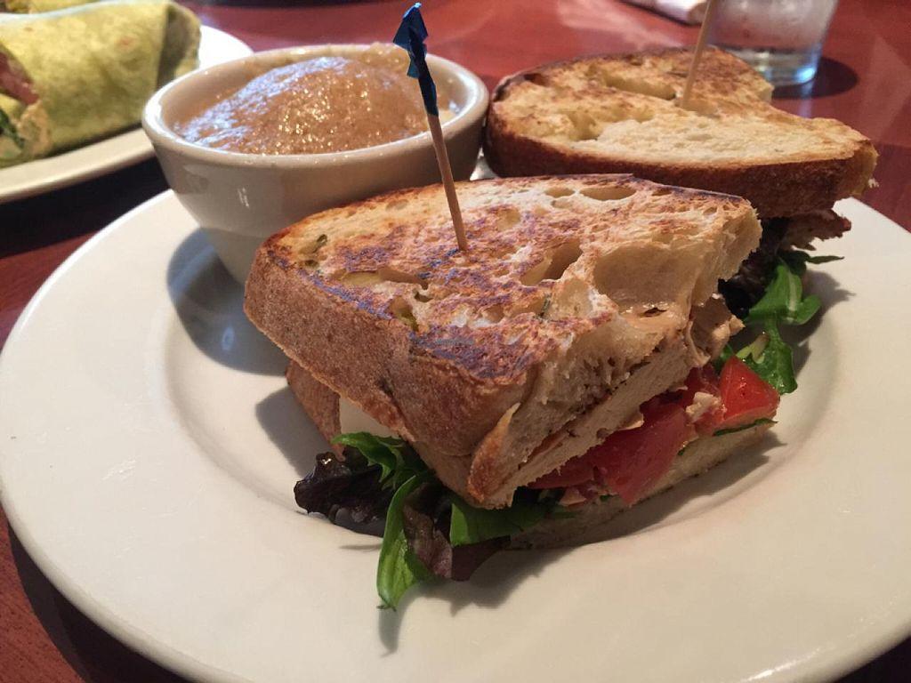 Chikun bruschetta sandwich with mashed potatoes at ethos vegan kitchen in winter park