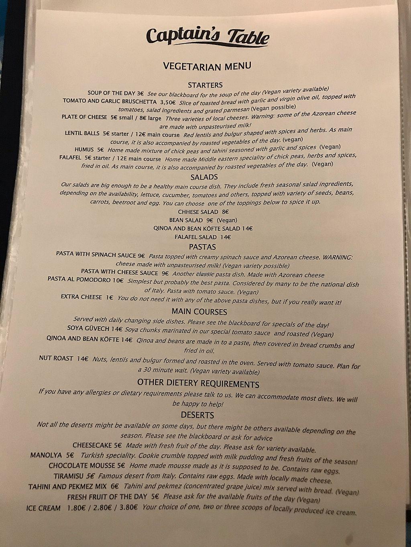 Captain S Table Azores Restaurant Happycow