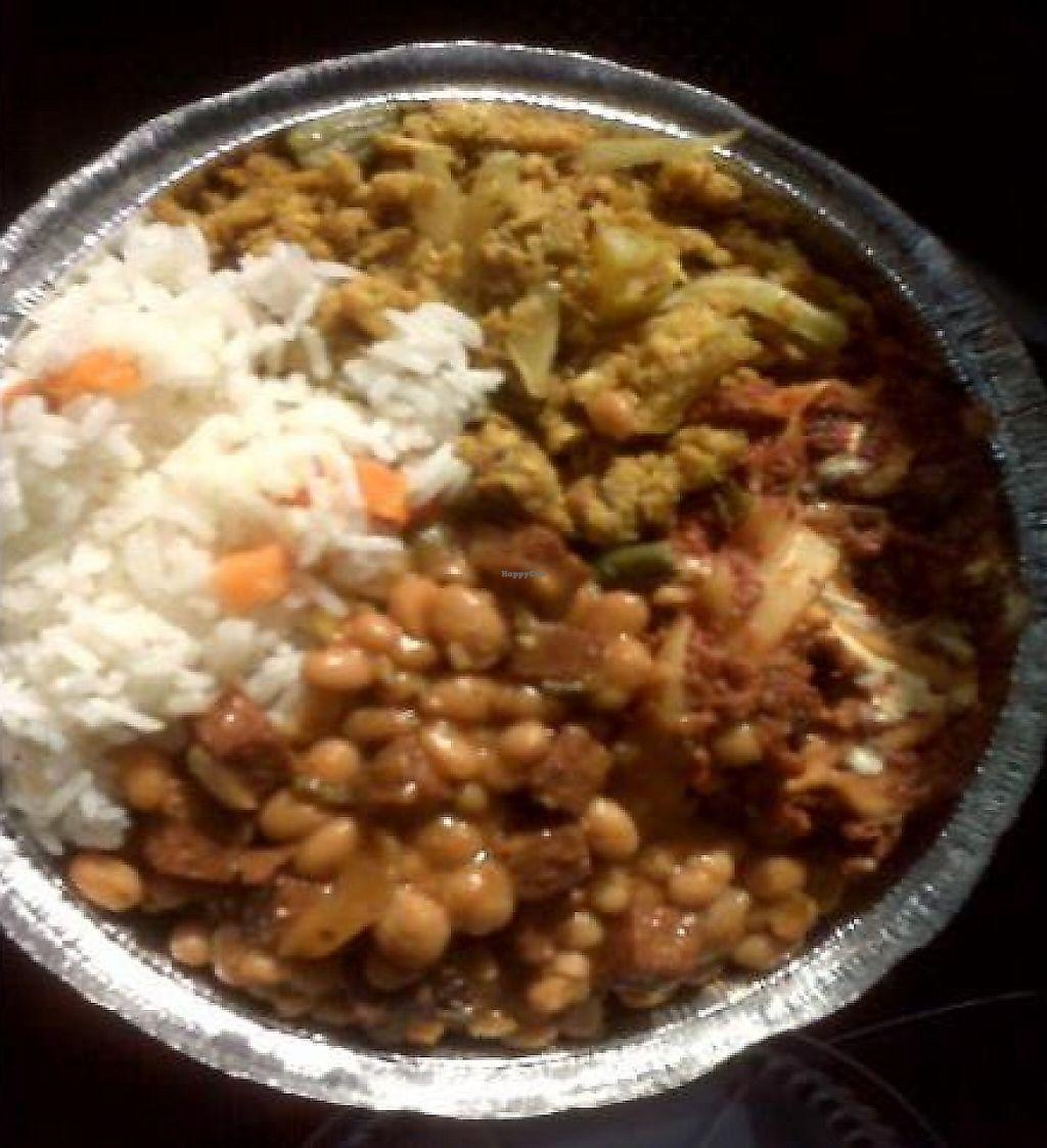 Combo Plate Of Beans Veggie Ham Lasagna Curry At Belmont Vegetarian Restaurant In