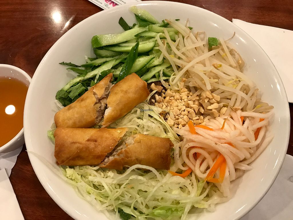 Vermicelli With Mock Beef And Egg Roll A Little Bland But Good Filling