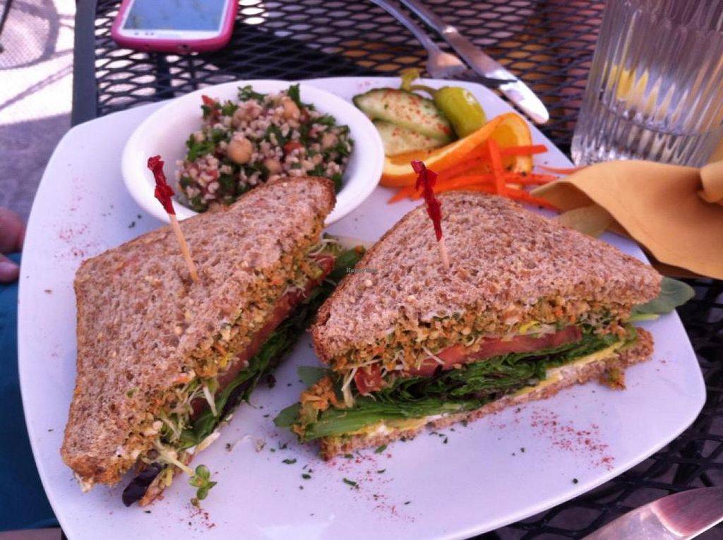 Mock Toona Sandwich With Tabbouleh At Shangri La Tea Room And Vegetarian Restaurant In Boise