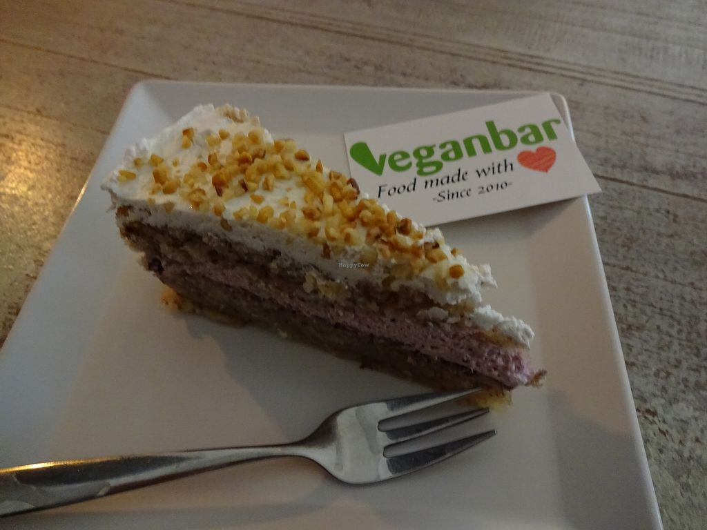 Schon A Great Cake With Nuts And Berries At Veganbar In Bremen