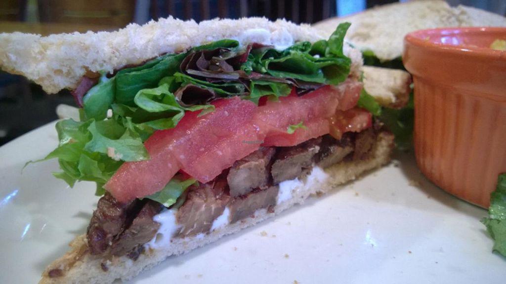 Vegan Tlt On Sandwich Bread At Harrison Street Cafe In Richmond