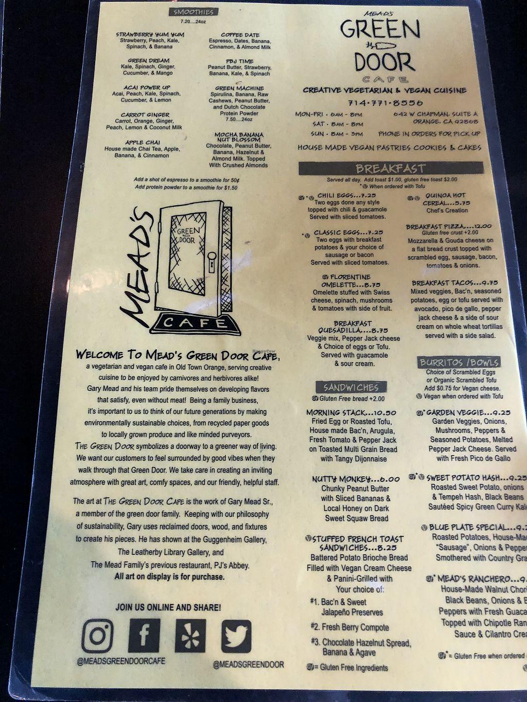 Mead's Green Door Cafe - Orange California Restaurant - HappyCow