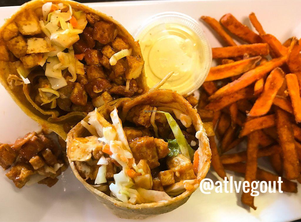 Bbq Tofu Wrap At Avocado Vegan Cafe In Alpharetta