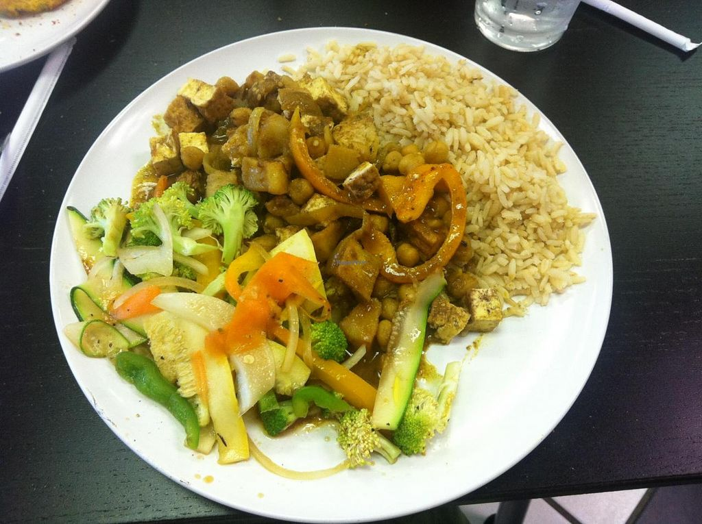 Caribbean Curry With Brown Rice And Stir Fry Veggies At Avocado Vegan Cafe In Alpharetta