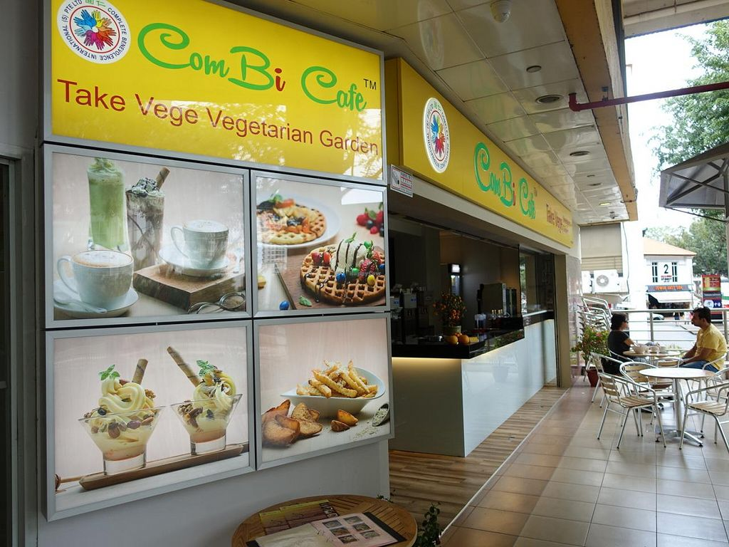 Shop exterior with outdoor dining at combi cafe in east singapore