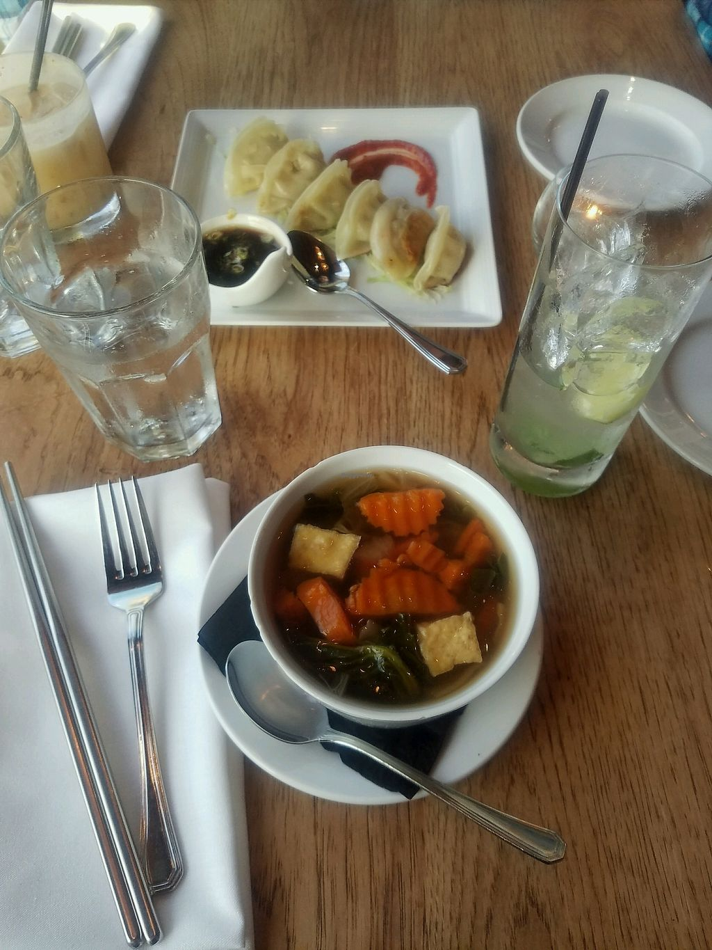 Vegetable Soup And Dumplings At Green Elephant Vegetarian Bistro Bar In Portsmouth