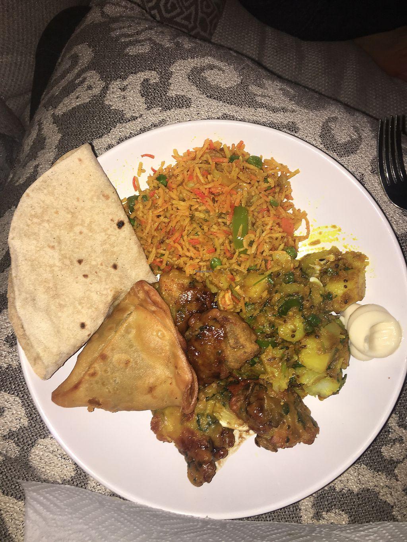 Take Out Of Vegan Samosas Pakora Aloo Masala Veg Biryan And Roti At