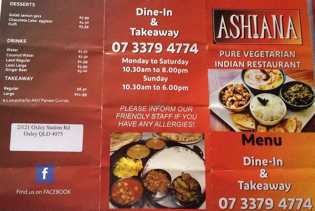 Leaflet At Ashiana Pure Vegetarian Indian Restaurant In Brisbane