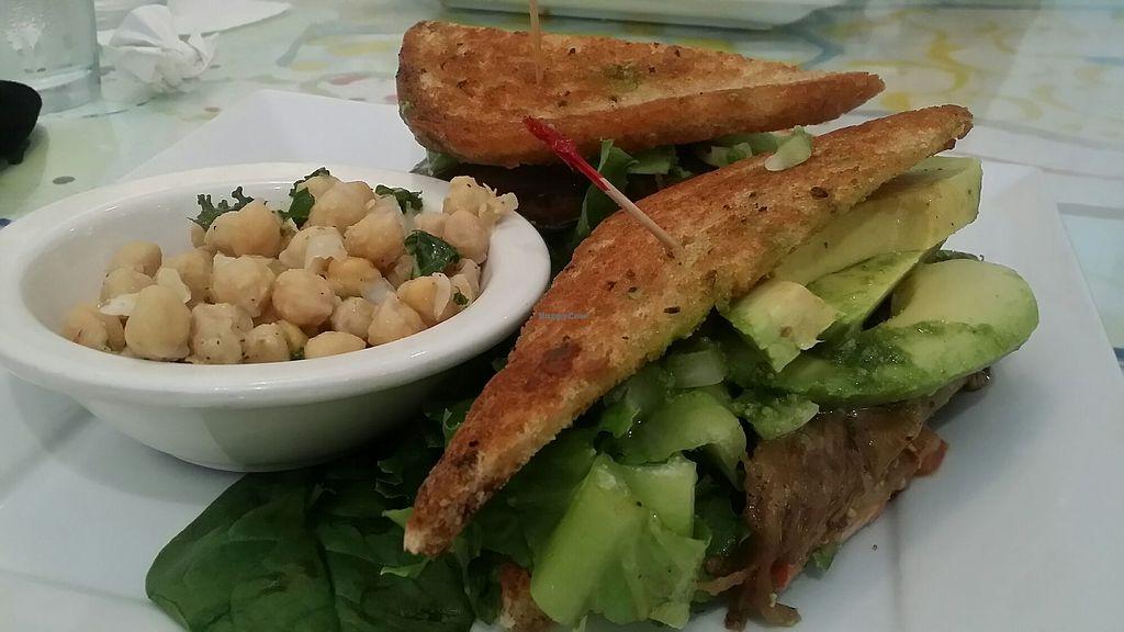 Eggplant Sandwich With Pea Salad And Avocado At Fresh Organic Restaurant In Vero Beach