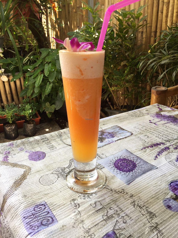 Orange pineapple carrot shake at jungle kitchen in ao nang