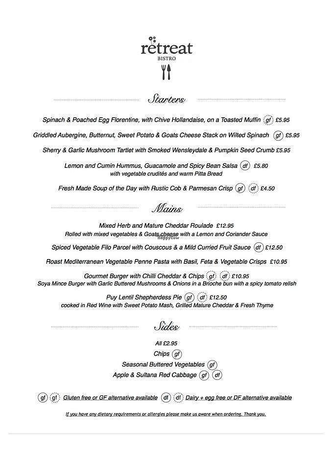 f14b4302335 Bistro Evening Menu at The Retreat Cafe and Tea Rooms in Grassington