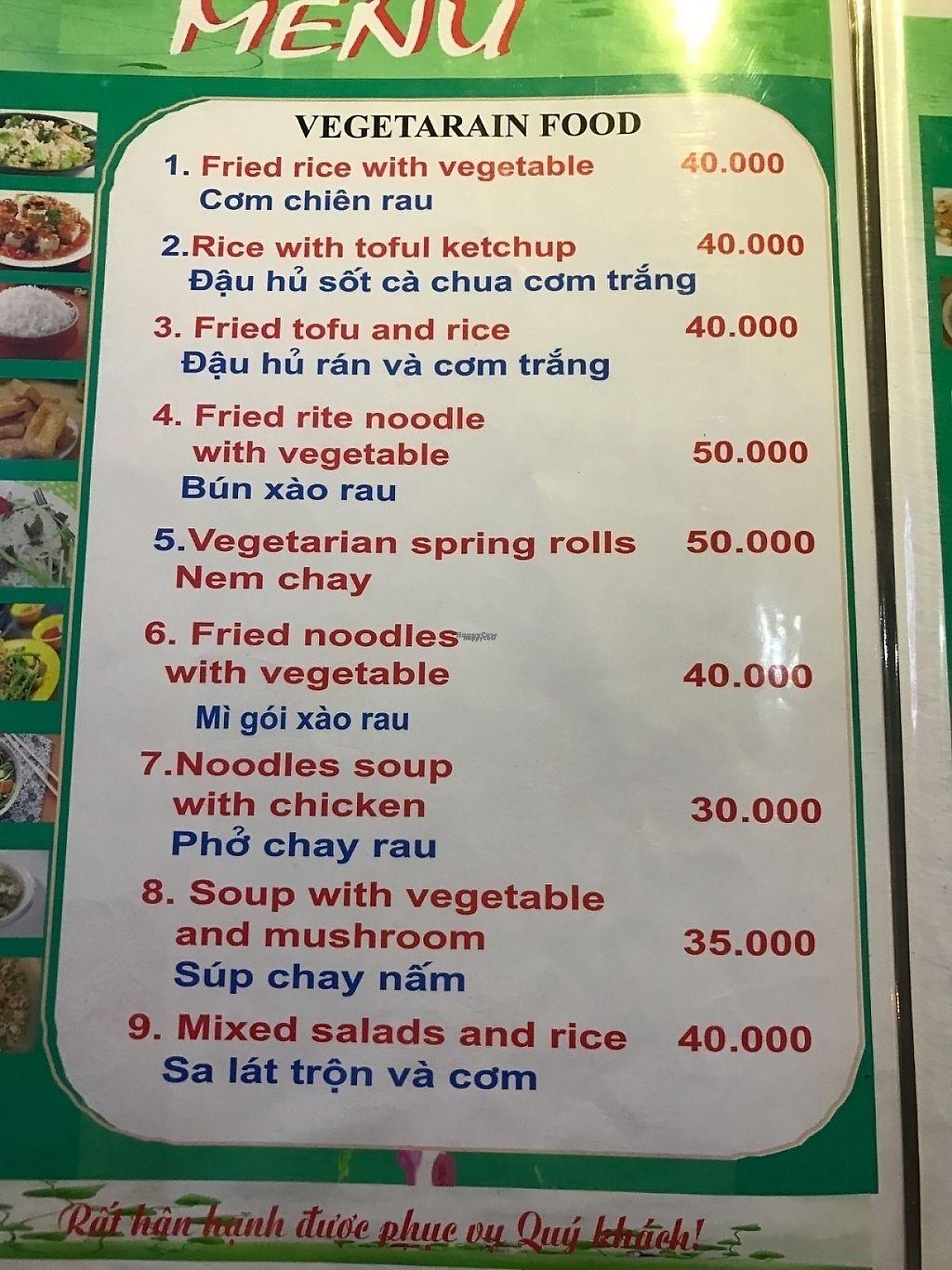 Menu at A Little Vietnam in Phong Nha