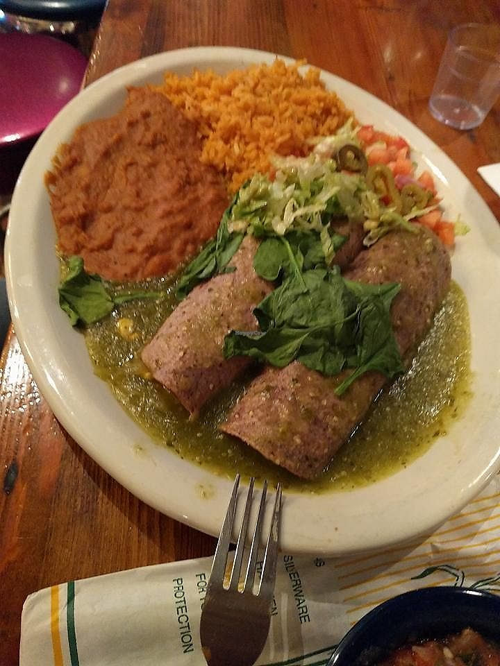 Veggie Enchiladas No Cheese With Tomatillo Sauce At Chuy S In Katy