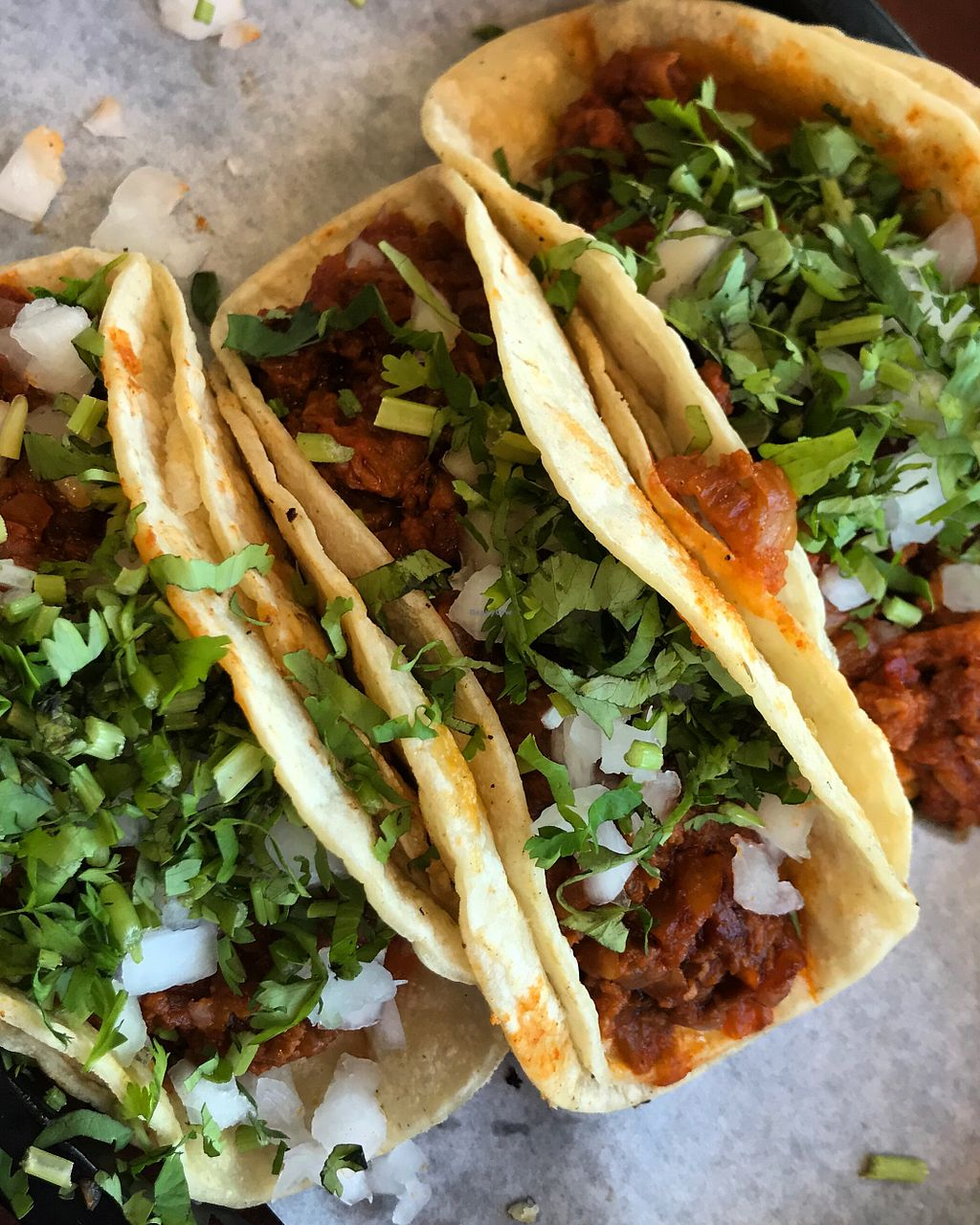 Soy Chorizo Tacos With Cilantro Onion At Totopos Mexican Restaurant In Naperville