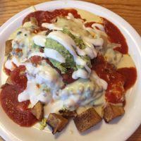 La Mesa - potatoes, cheeze, sour cream, avocado, tofu scramble, and black beans at Vertical Diner in Salt Lake City