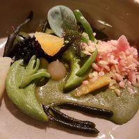 sea vegetables with citrus, grapefruit (frozen with nitrogen) at 't Aards Paradijs in Ghent