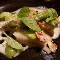 jerusalem artichokes, broad beans and asparagus,  at 't Aards Paradijs in Ghent