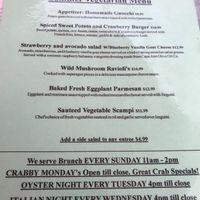 Vegetarian menu at Topside Grill in Gloucester