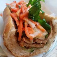 half size lemongrass tofu Bahn Mi with kimchi. at DD MAU in Vancouver