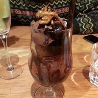 Chocolate cherry brownie sundae with locally made gelato  at Curly Kale Cafe in Cambridge