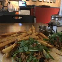 Tacos with fries instead of salad at The Dancing Dog in Urbana