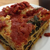 lasagna--chocolate pudding behind. at Loving Hut - Fort Street Mall in Honolulu