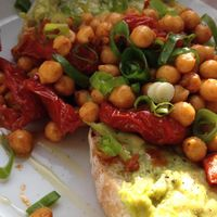 Spiced chickpeas and avocado on sourdough toast at Espresso Library in Cambridge