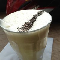 White smoothie (almond milk, banana, chia seeds, some other delicious things) at Espresso Library in Cambridge