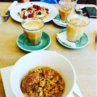 Vegan bfast featuring three coffees ? at Espresso Library in Cambridge