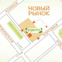 Map showing the store location in the bazaar area Novy Rynok.  at Adanti in Odessa