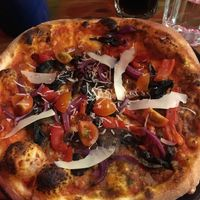 Delicious pizza with vegan parmesan at Aperitivo in Dublin